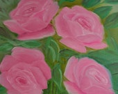 Vintage Cottage Chic Flower Painting Pink Roses Floral Design by Willie '82