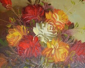 Gorgeous Flower Painting by B Ferber Floral Roses Cottage Chic Style Reds Yellow