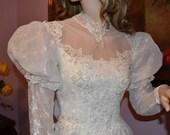 Vintage 1970 or 1980 Wedding Dress Beautiful Bridal Lace