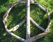 Driftwood Peace Sign, Wood Sculpture Wall Art