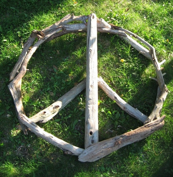 Driftwood Peace Sign, Wood Sculpture Wall Art