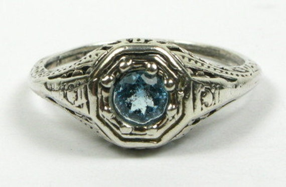 Blue Topaz  Victorian Filiagree ring  engagement ring