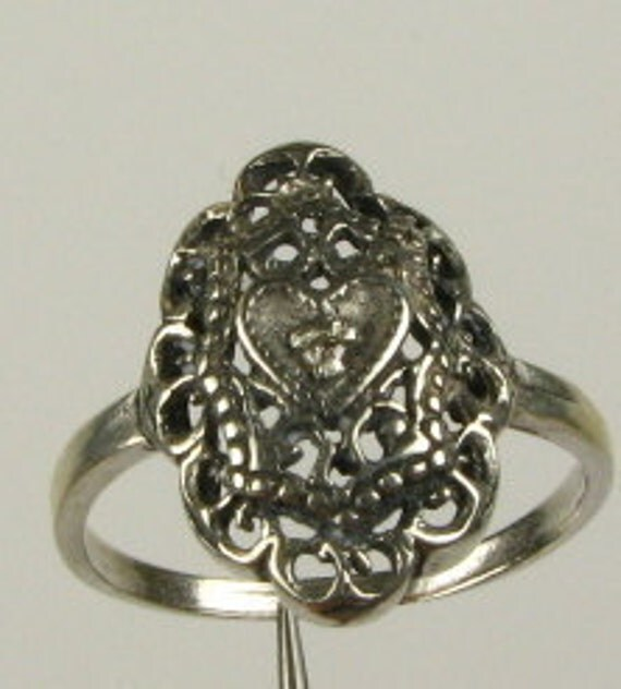 Art Deco Sterling  Real Diamond  Heart Filigree Ring  filigree