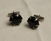 Black Cufflinks Prong Set Glass - The Jetsons Ooak
