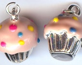 ONE - 3D Silver Plated Enameled Charm. Frosted CUPCAKE. Strawberry with Sprinkles.