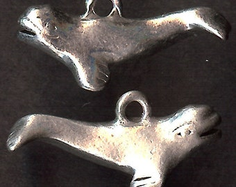 WHALE Charm. Sterling Silver Plated Pewter.  3D Beluga. Porpoise. Made in the USA.