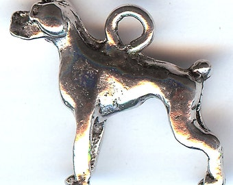ONE - Pewter Charm. 3D Boxer Dog. Rottweiler. Doberman. Made in the USA.