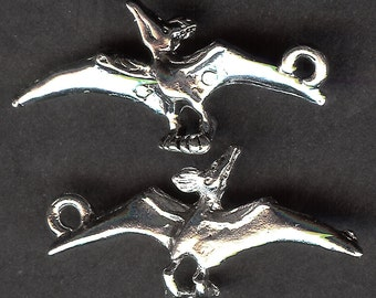 ONE - Sterling Silver Pewter Charm. 3D Dinosaur. Pterodactyl. Made in the USA.