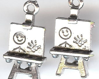 ARTIST EASEL Charm. Sterling Silver Plated Pewter. 3D. Made in the USA.