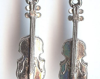 VIOLIN Charm. Sterling Silver Plated 3D. Viola. Made in the USA. wui