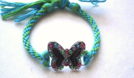BUTTERFLY Bracelet w color changing MOOD CHARM n crystals / handknotted green n turq cotton Bracelet