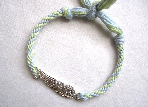 Silvertone WINGS w crystals- Charm Friendship Bracelets/anklet- Baby blue and pale green hand knotted cotton