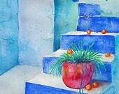 DIGITAL DOWNLOAD Watercolor Print Greek Steps Monaco blue azure blue green bright pink orange scenic travel orange tree