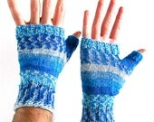 Fingerless Gloves Jack Frost Faire Isle Ice Blue White Texting Mitts Gauntlets Wrist Warmers wool READY TO SHIP