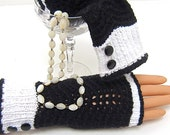 Fingerless Hug Gloves TUXEDO Hand Massaging Stretch Cotton Black White Hand Knit by ME