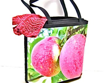 Nature apple photography on handbag tote bag pink red green fashion accessory microfiber water resistant key fob pockets