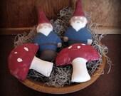 Gnome and Mushroom Bowl Filler Primitive Home Decor