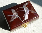 Vintage Musical Jewelry Box  Cranes Mother of Pearl Lacquer Finish Korea
