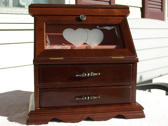 Vintage Wooden Jewelry Box Hearts