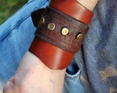 Vintage Belted Brown Leather Cuff