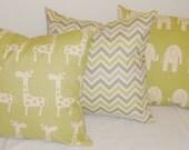Pillow Trio Giraffe Elephant Print & Zig Zag Chevron Decorative Pillow 18x18
