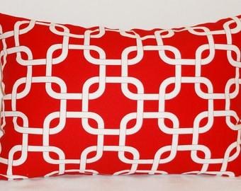 Decorative Pillow Red/white Gotcha Geometric Print 12x18 Lumbar Pillow Cover
