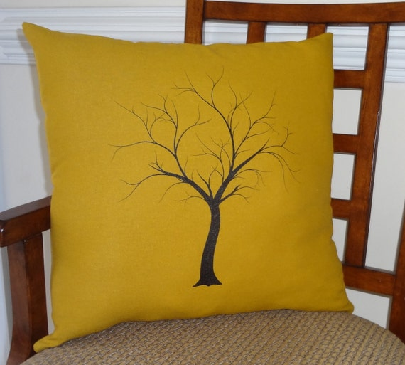 Decorative Tree Print Throw Pillow Cover on Gold Linen Black Tree on Gold 18x18