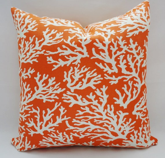 One OUTDOOR Manderine Coral Print Pillow Cushion Covers Coral