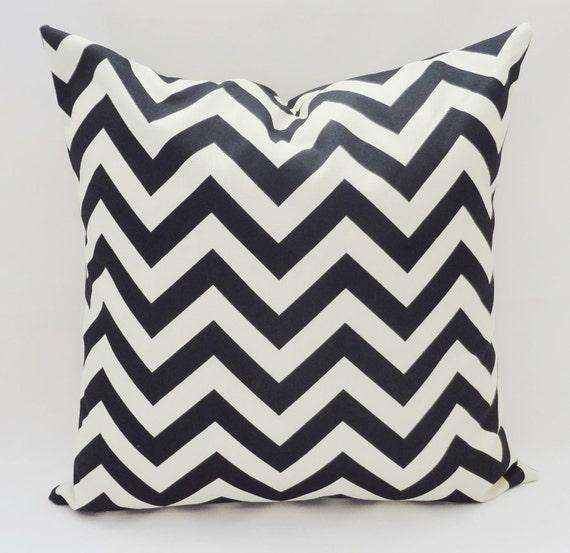 OUTDOOR Pillow Cover Black & Ivory Zig Zag Chevron Decorative Pillow 18x18