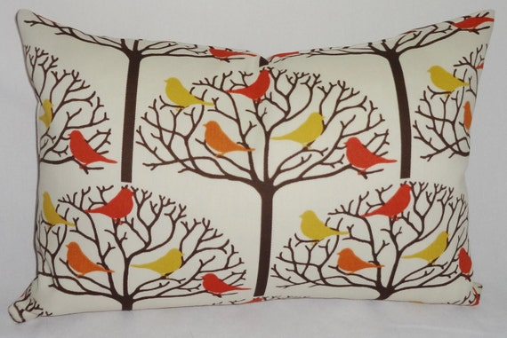 OUTDOOR Bird in a Tree Pillow Cover Thomas Paul Porch Decorative Pillows 12x18 Lumbar