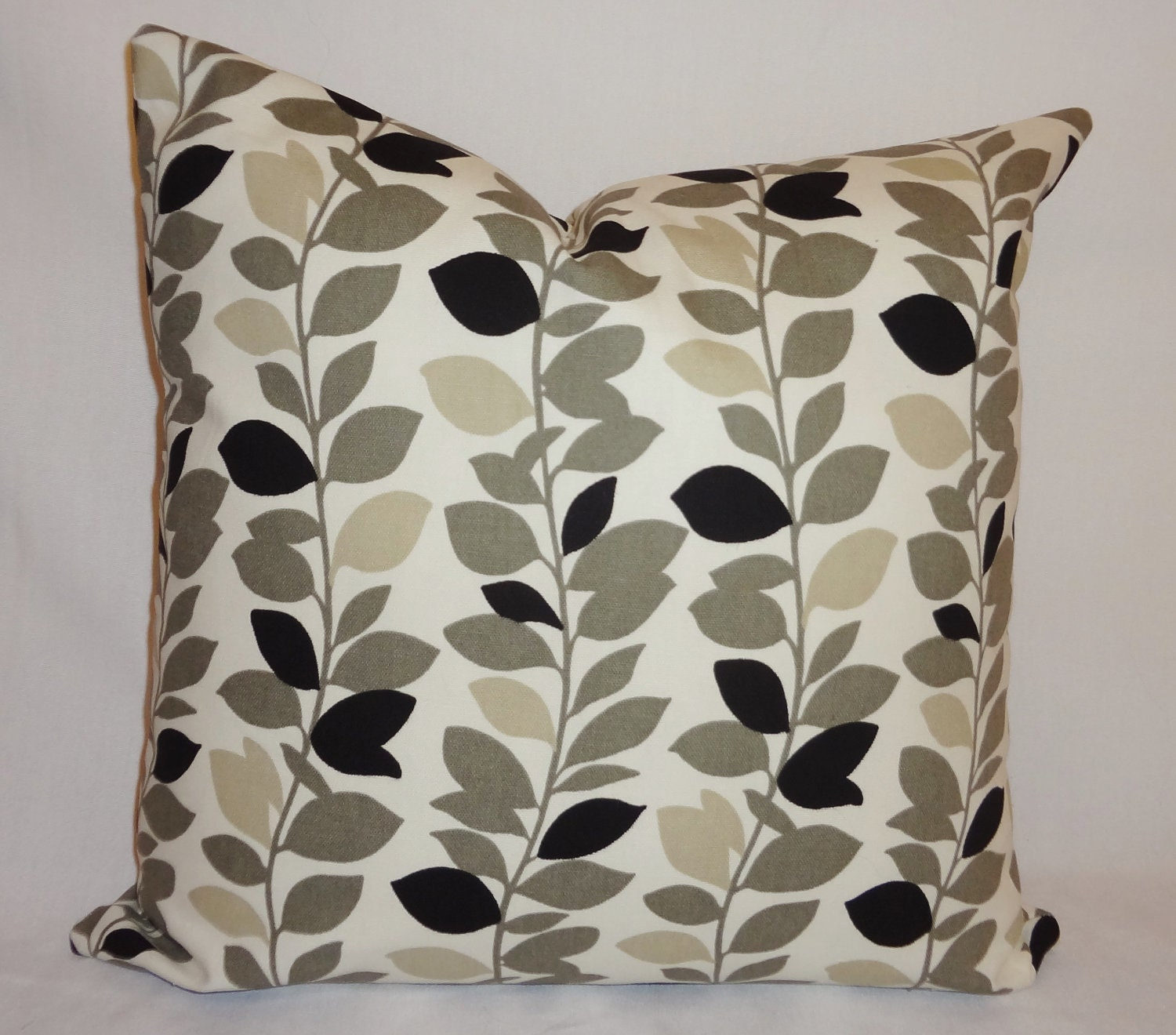 Decorative Pillows Black And Grey : Black Grey & Tan Leaves Vine Pillows Decorative by HomeLiving