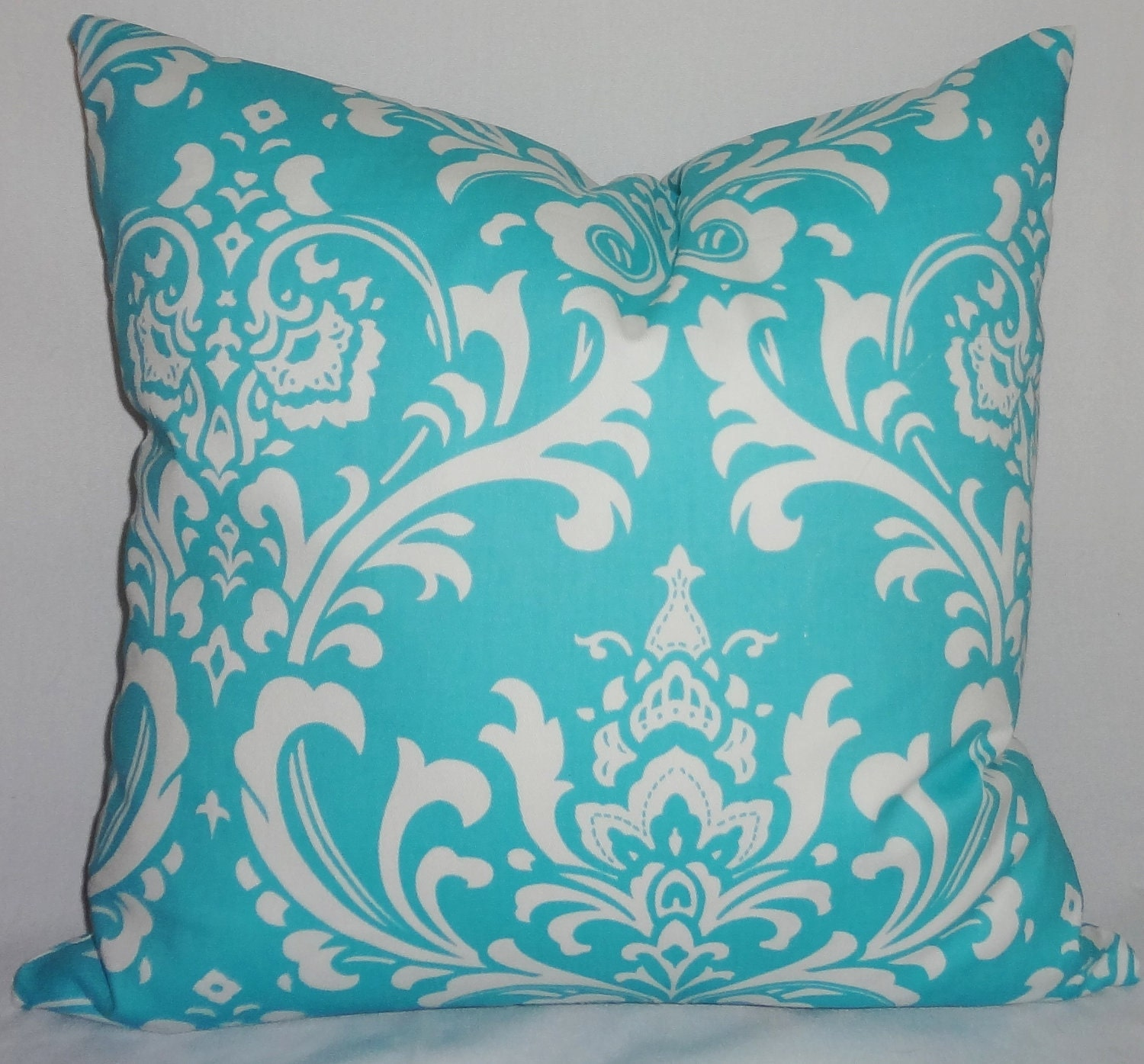turquoise blue damask pillow cover decorative throw by