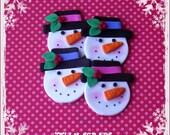 Jolly Snowmen polymer clay embellishments/ornaments/bow centers