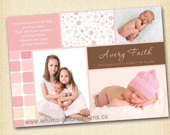 Baby Girl Birth Modern Announcement (Digital File) Avery - I Design, You Print