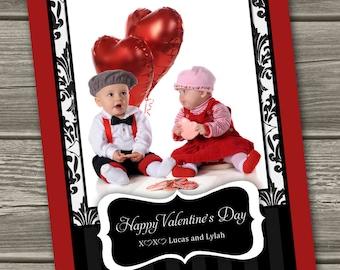 Valentines Photo Card, Valentine's Day Card - Elegant Damask - (Digital File) - I Design, You Print