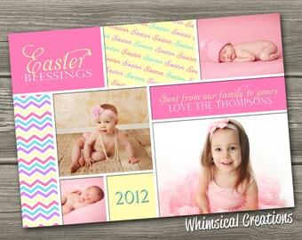 Easter Photo Card, Easter Card - Easter Blessings (Digital File) I Design, You Print