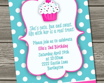Cupcake Birthday Invitation (Digital File) - I Design, You Print - Photo Option Also Available
