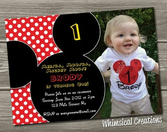 Mickey Mouse Birthday Invitation (Digital File)  Mickey Mouse Invitation