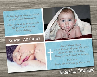 Baptism Invitation (Digital File) Christening Invitation - I Design, You Print