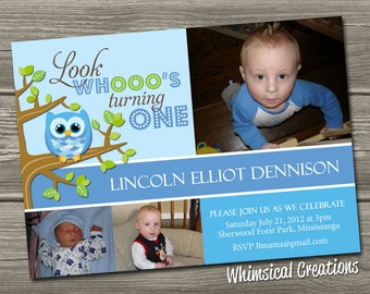 Owl 1st Birthday Invitation (Digital File) Owl Birthday Invite - Boy and Girl versions available - I Design, You Print