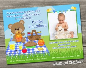 Teddy Bear Picnic Birthday Invitation (Digital File) - BOY & GIRL Versions Available - I Design, You Print