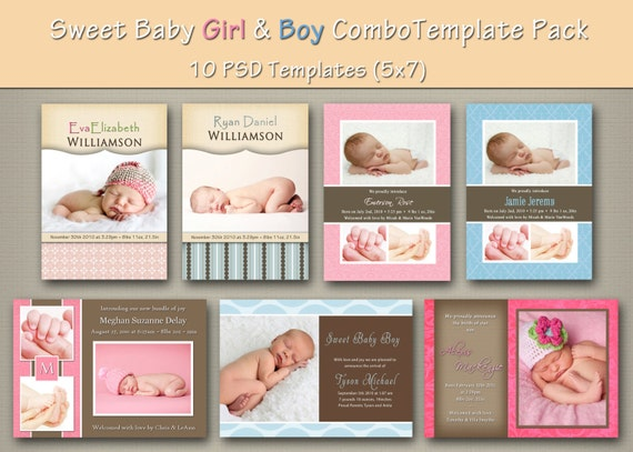 free online birth announcement templates - instant download baby boy and girl birth by