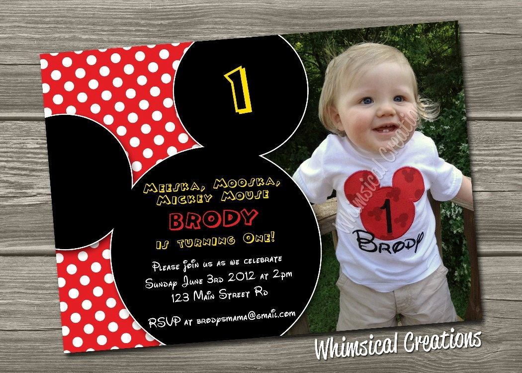 Mickey Mouse Birthday Invitation Digital File Mickey Mouse