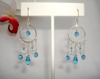 Blue Round Sterling Silver Chandelier Earrings with Aquamarine Swarovski Elements Crystal, Bridal Bridesmaid Wedding Custom Jewelry