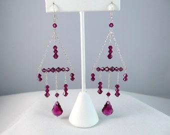 Ruby Swarovski Elements Silver Chandelier Earrings, Red Crystal Baroque Pendant Earrings, Bridal Bridesmaid Custom Jewelry