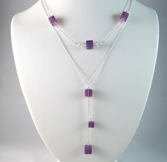Lavender Crystal Cube Swarovski Elements Necklaces in Sterling Silver, Lilac Light Purple Cyclamen Opal Cubes, Bridal Bridesmaid Friendship
