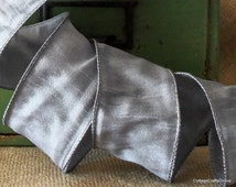 "Wired Ribbon 2 1/2"" Silver Grey Pewter - THREE YARDS  - Offray ""Anisha Silver"" Craft Decor Wire Edged Ribbon"