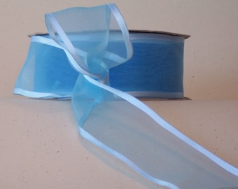 """CLEARANCE!! Wired Ribbon, 7/8"""" wide, Light Blue Sheer, Satin Edge - THREE & 1/2 YARDS - Offray """"Arabesque """" #836 Craft, Wedding Ribbon,"""