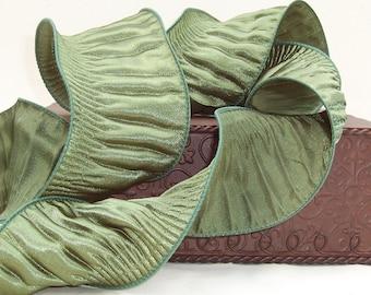 "Ribbon, 2 1/2"" wide, Moss Green Ruched Curvacious  Monofilament Edge - SIX & 1/2 YARDS - Offray ""Curvacious"" #422 Green Craft Decor Ribbon"