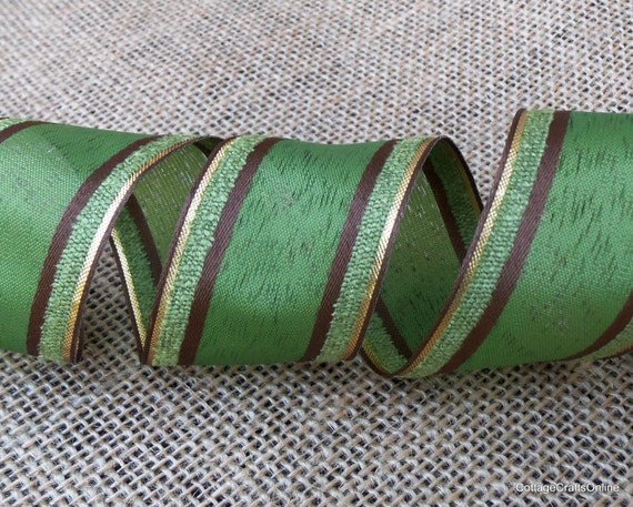 "Wired Ribbon, Green with Brown and Gold Stripes, 1 1/2"", THREE & 1/3 YARDS, Offray ""On the Green"" #70242 Fall Wire Edged Ribbon"